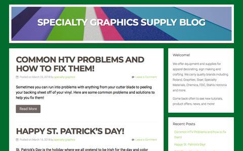 Screenshot of Blog specialty-graphics.com - Specialty Graphics Supply Blog - captured Sept. 23, 2018