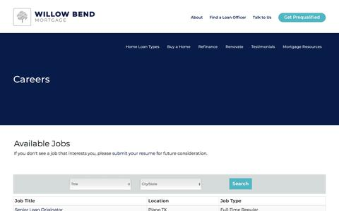 Screenshot of Jobs Page wbm.com - Careers | Willow Bend Mortgage - captured June 14, 2018