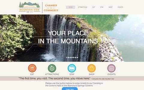 Screenshot of Home Page yourplaceinthemountains.com - Mountain View Chamber of Commerce - captured Oct. 21, 2017