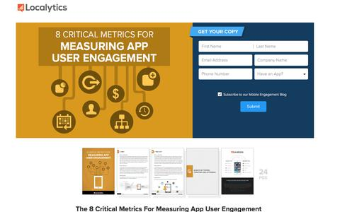 Screenshot of Landing Page localytics.com - The 8 Critical Metrics For Measuring App User Engagement - captured March 3, 2018