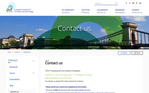 Screenshot of Contact Page europa.eu - Contact us | European Institute of Innovation & Technology (EIT) - captured Sept. 19, 2014