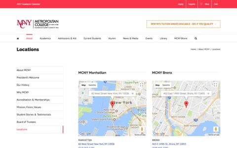 Screenshot of Locations Page mcny.edu - Locations – MCNY - captured Oct. 18, 2017