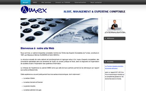 Screenshot of Home Page amex.com.tn - AMEX, Audit Management & Expertise Comptable - captured Sept. 4, 2015