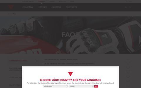 Screenshot of FAQ Page dainese.com - FAQ  - Dainese - captured Oct. 27, 2014