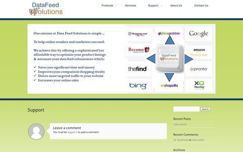 Screenshot of Support Page datafeedsolutions.com - Support - captured Sept. 30, 2014