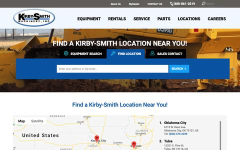 Screenshot of Locations Page kirby-smith.com - Locate a Construction, Paving, and Crane Equipment Dealer | Kirby-Smith - captured Oct. 15, 2018