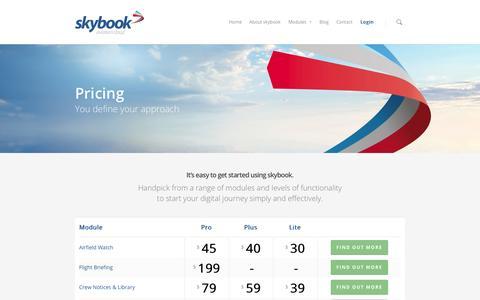 Screenshot of Pricing Page skybook.aero - Flight planning software, etops, flight briefing, metar, taf | skybook - captured Oct. 7, 2014