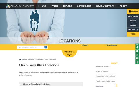 Screenshot of Locations Page alleghenycounty.us - Locations | Health Department | Allegheny County - captured July 29, 2018