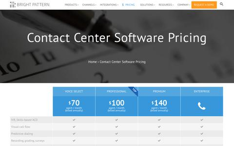 Screenshot of Pricing Page brightpattern.com - Contact Center Software Pricing | Bright Pattern - captured Oct. 11, 2017