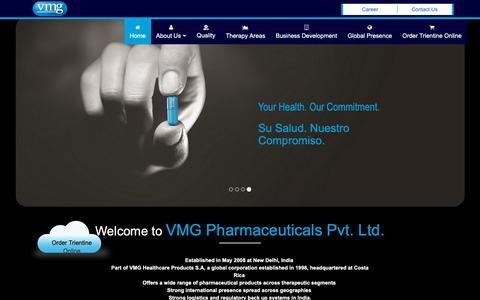 Screenshot of Home Page vmgpharmaceuticals.com - Trientine Hydrochloride Manufacturers in India, ATGAM Sterile Solution Exporters in Inida, Pharmaceutical Company in India- VMG Pharmaceuticals - captured Oct. 18, 2018