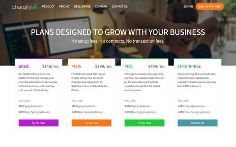Screenshot of Pricing Page chargify.com - Billing Plans for Startups and Small Businesses - Chargify - captured Nov. 25, 2016