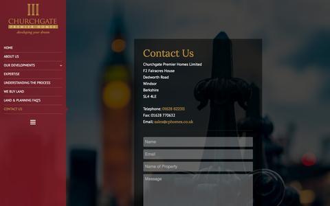 Screenshot of Contact Page cphomes.co.uk - Contact Us - Churchgate - captured Jan. 28, 2016