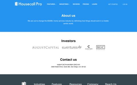 Screenshot of About Page tryhousecall.com - Housecall - About Us - captured June 6, 2018