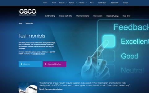 Screenshot of Testimonials Page osco.uk.com - Testimonials | OSCO - captured Feb. 22, 2016