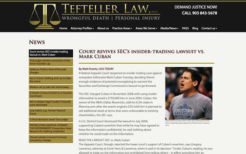 Screenshot of Press Page teftellerlaw.com - News - Tefteller Law, PLLC - captured Oct. 20, 2018