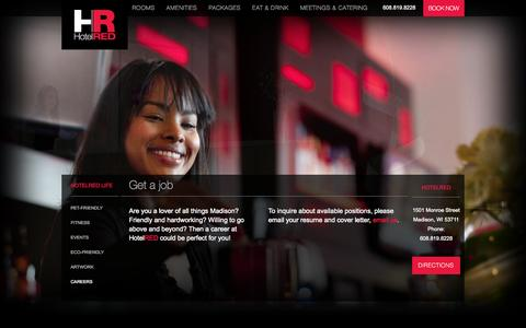 Screenshot of Jobs Page hotelred.com - Careers at HotelRED in Madison WI - captured Sept. 30, 2014
