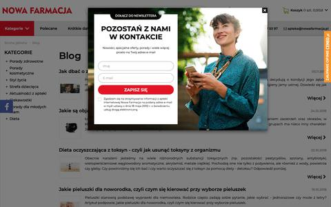 Screenshot of Blog nowafarmacja.pl - Blog - porady zdrowotne | Apteka Nowa Farmacja - captured Nov. 7, 2018