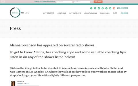 Screenshot of Press Page i-love-my-life.com - Press Contact for Alanna Levenson - I Love My Life! Coaching | I Love My Life Coaching - captured Oct. 3, 2014