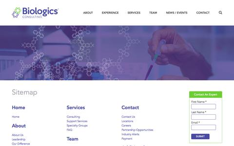 Screenshot of Site Map Page biologicsconsulting.com - Sitemap | Biologics Consulting - captured Oct. 10, 2017