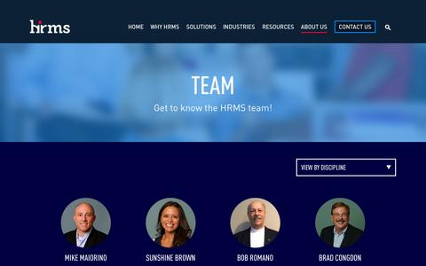 Screenshot of Team Page hrmssolutions.com - Get to know the HRMS Solutions Team - captured Oct. 1, 2014