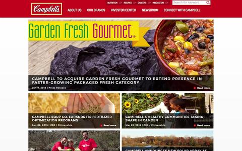 Screenshot of Home Page campbellsoupcompany.com - Home - captured July 18, 2015