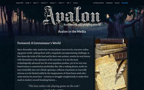 Screenshot of Press Page avalon-rpg.com - Avalon in the Media - Online RPG | Text Based Games - captured Feb. 6, 2016