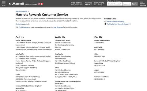 Screenshot of Support Page marriott.com - Marriott Rewards Phone Number and Customer Service Information - captured May 8, 2017
