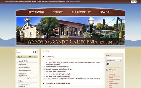 Screenshot of FAQ Page arroyogrande.org - Arroyo Grande, CA - Official Website - captured Oct. 2, 2014