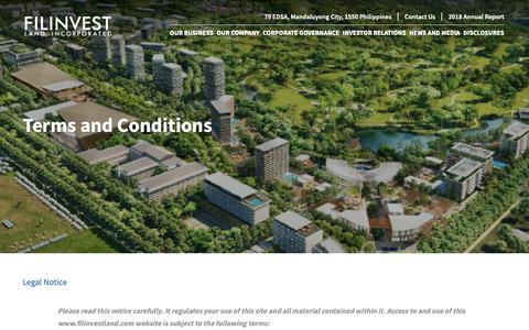 Screenshot of Terms Page filinvestland.com - Terms and Conditions | Filinvest Land, Inc. - captured June 15, 2019