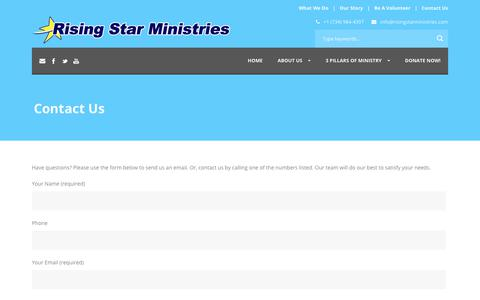Screenshot of Contact Page risingstarministries.com - Rising Star Ministries   » Contact Us - captured Oct. 20, 2018