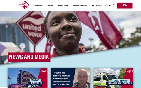 Screenshot of Press Page unitedvoice.org.au - News and Media - United Voice - captured Oct. 20, 2018