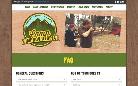 Screenshot of FAQ Page improvutopia.com - Frequently Asked Questions - Improv Utopia - captured Aug. 5, 2016