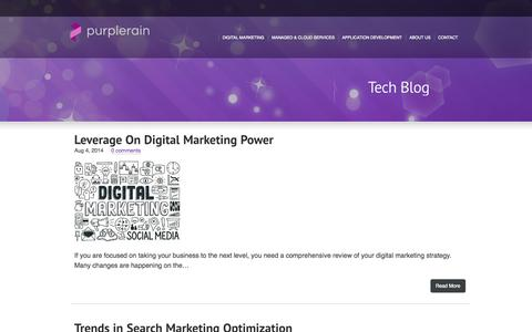 Screenshot of Blog purple-rain.in - Digital Marketing | Digital Commerce | Technology Consulting | PurpleRain - captured Sept. 30, 2014
