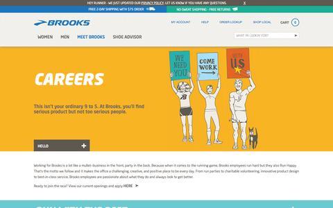 Screenshot of Jobs Page brooksrunning.com - Brooks Running - Men's & Women's Running Shoes and Apparel - captured Sept. 22, 2014