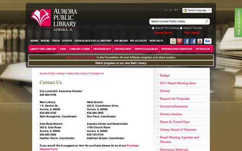 Screenshot of Contact Page aurorapubliclibrary.org - Aurora Public Library » Contact Us - captured Sept. 18, 2014