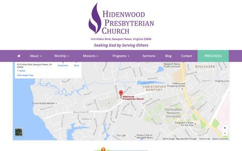 Screenshot of Maps & Directions Page hidenwood.org - Directions – Hidenwood Presbyterian Church - captured Nov. 7, 2016