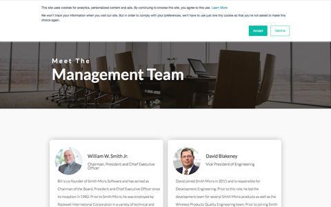 Screenshot of Team Page smithmicro.com - Management Team | Smith Micro | Smith Micro - captured July 12, 2019