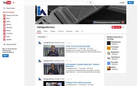 Screenshot of YouTube Page youtube.com - IntelligentArmour  - YouTube - captured Oct. 24, 2014