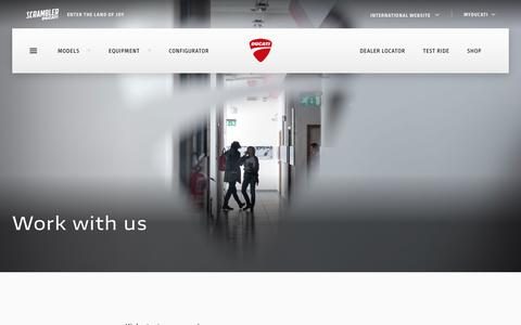 Screenshot of Jobs Page ducati.com - Work with us - captured Dec. 24, 2018