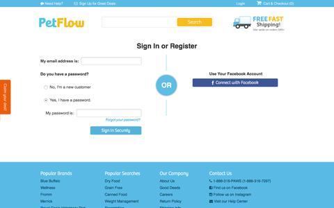 Screenshot of Login Page petflow.com - Sign In | PetFlow.com - captured March 30, 2016
