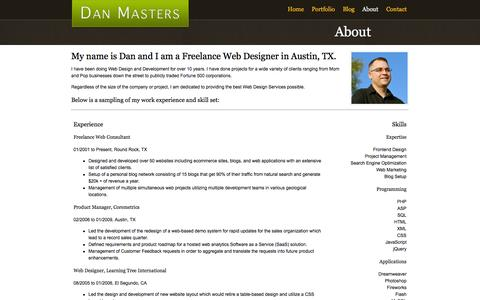 Screenshot of About Page idano.net - About - Dan Masters - Austin Freelance Web Designer - captured Oct. 6, 2014