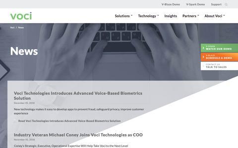Screenshot of Press Page vocitec.com - Speech Technology News From Voci Covering Customer Experience and more - Voci - captured Feb. 9, 2019