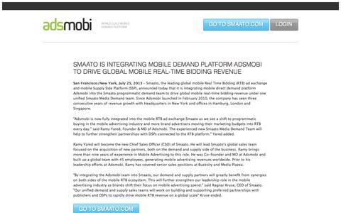 Screenshot of Home Page adsmobi.com - Adsmobi - World Class Demand Platform - captured Sept. 24, 2014