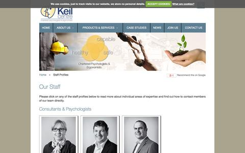 Screenshot of Team Page keilcentre.co.uk - Our Staff - captured Oct. 8, 2014