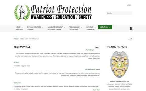 Screenshot of Testimonials Page patriotprotection.net - Testimonials - captured Nov. 1, 2014