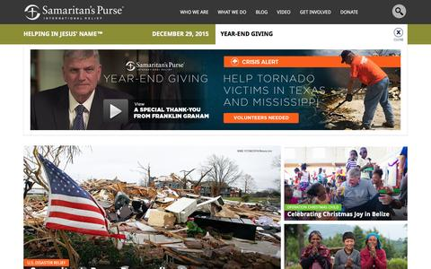 Screenshot of Home Page samaritanspurse.org - Samaritan's Purse — International Relief - captured Dec. 29, 2015