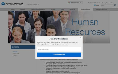 Screenshot of Jobs Page konicaminolta.com - Employment Opportunities- Konica Minolta - captured Oct. 17, 2018