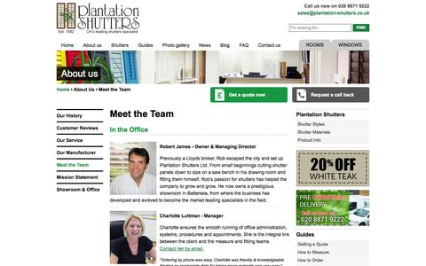 Screenshot of Team Page plantation-shutters.co.uk - Our Team | Plantation Shutters | Window Shutters London UK - captured Oct. 3, 2014