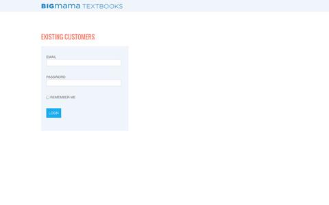Screenshot of Login Page bigmama.ca - Login - BigMama Textbook Rentals Canada - captured Oct. 5, 2014