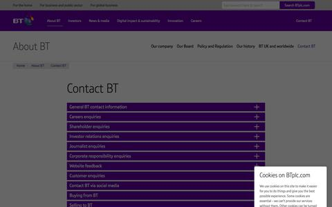 Screenshot of Contact Page btplc.com - Contact BT - captured April 20, 2019
